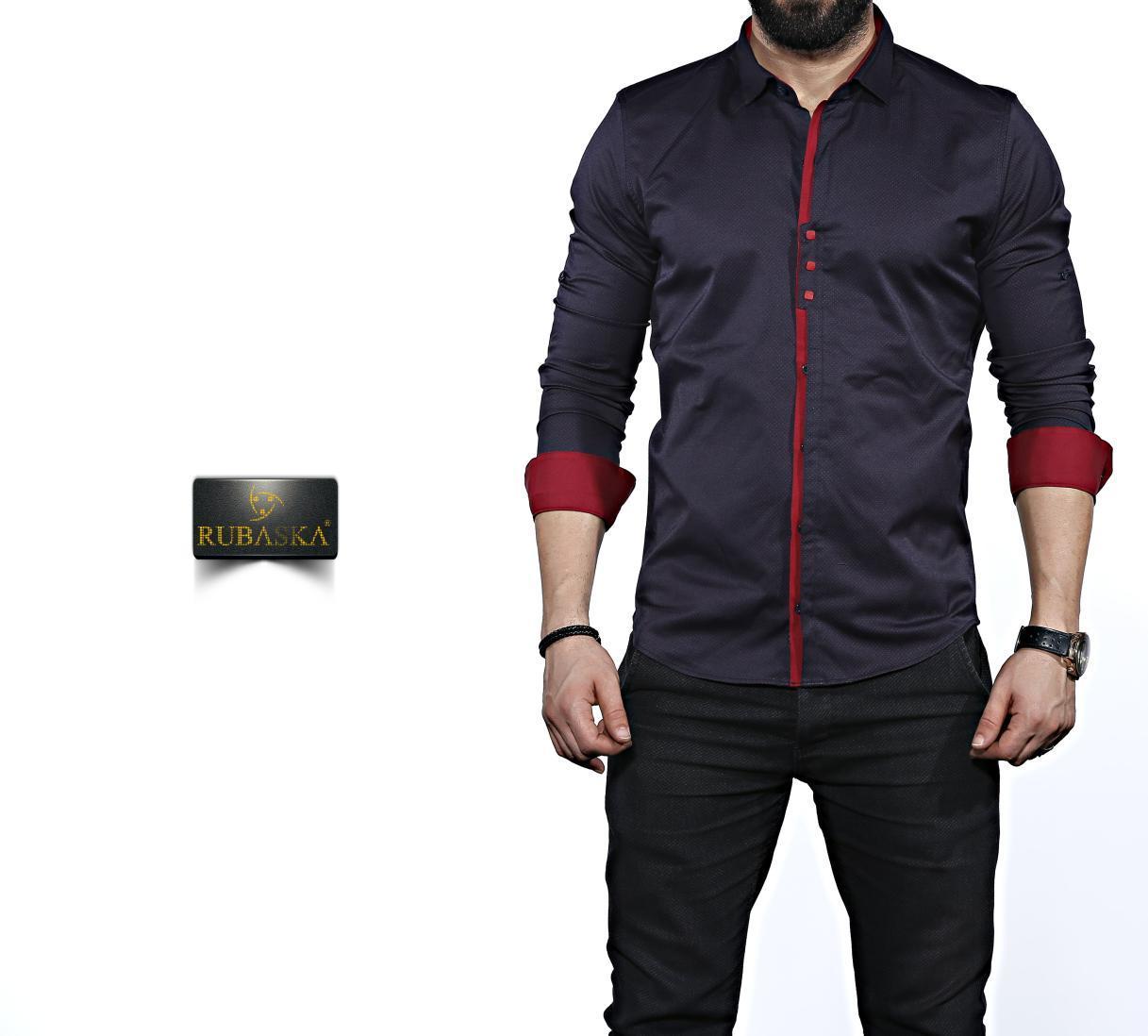 632a1acc7e8 Темно-синяя мужская рубашка с темно-красной отделкой. Длинный рукав. -  Интернет