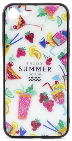 """Чехол накладка YCT для iPhone 7/8 (4.7 """") TPU + Glass Летние напитки, фото 2"""