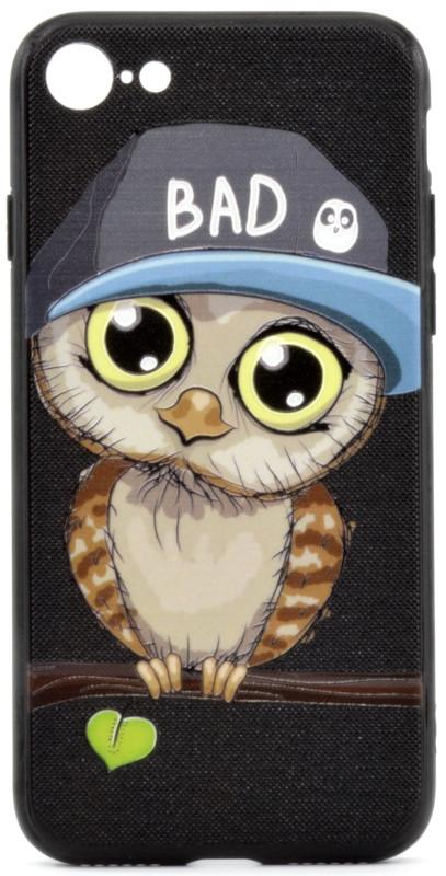 """Чехол накладка YCT для iPhone 7/8 (4.7 """") TPU + PC с тиснением Мальчик сова Черный"""