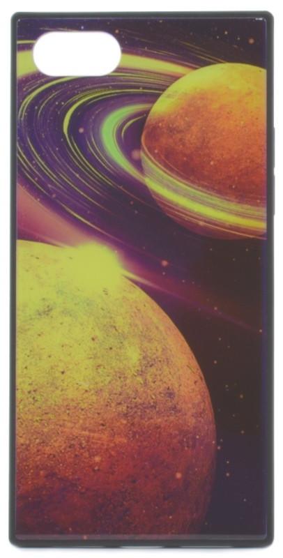 """Чехол накладка YCT для iPhone 7/8 Plus (5.5 """") TPU + Glass прямоугольный Космос Синий"""