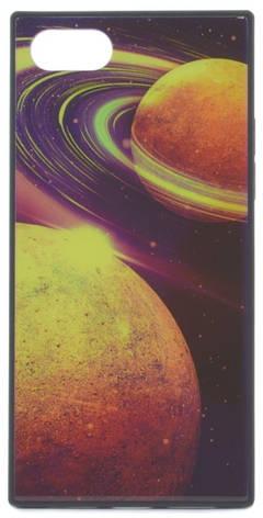 """Чехол накладка YCT для iPhone 7/8 Plus (5.5 """") TPU + Glass прямоугольный Космос Синий, фото 2"""