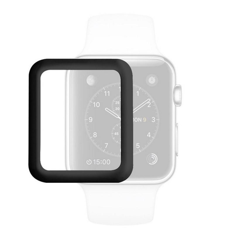 Захисне Скло Tempered Glass для Apple iWatch 42мм Прозорий/Чорний