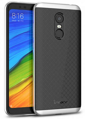 Чехол накладка iPaky для Xiaomi Redmi 5 TPU + PC Черный / Серебристый (410099), фото 2