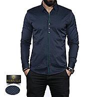 Стильная темная мужская рубашка в мелкий узор. Длинный рукав