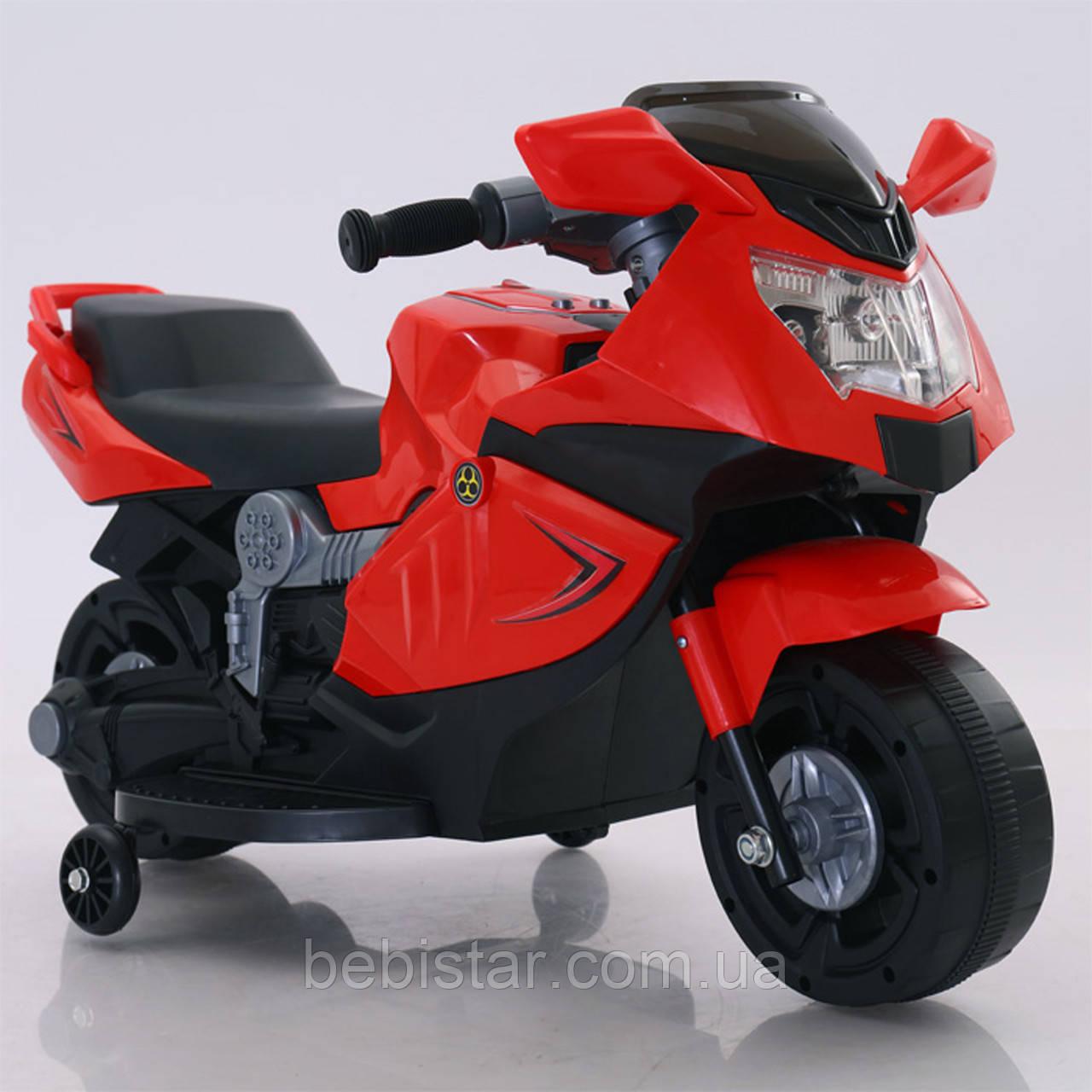 Детский электромобиль мотоцикл красный от 2 до 4-х лет до 25кг мотор 1*12W размер 86х44х52см