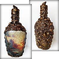 """Красивая бутылка для алкоголя в подарок моряку """"Море спокойствия"""" Морской сувенир"""