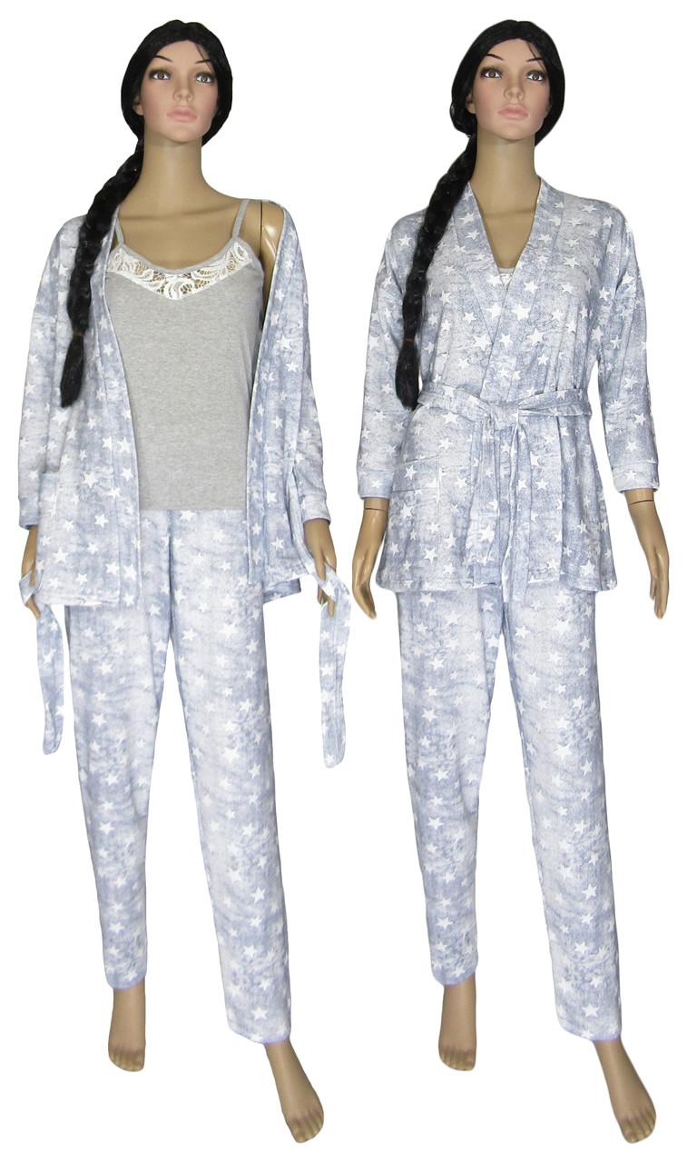 Комплект пеньюар женский домашний с теплым халатом 18207 Milan Soft Grey