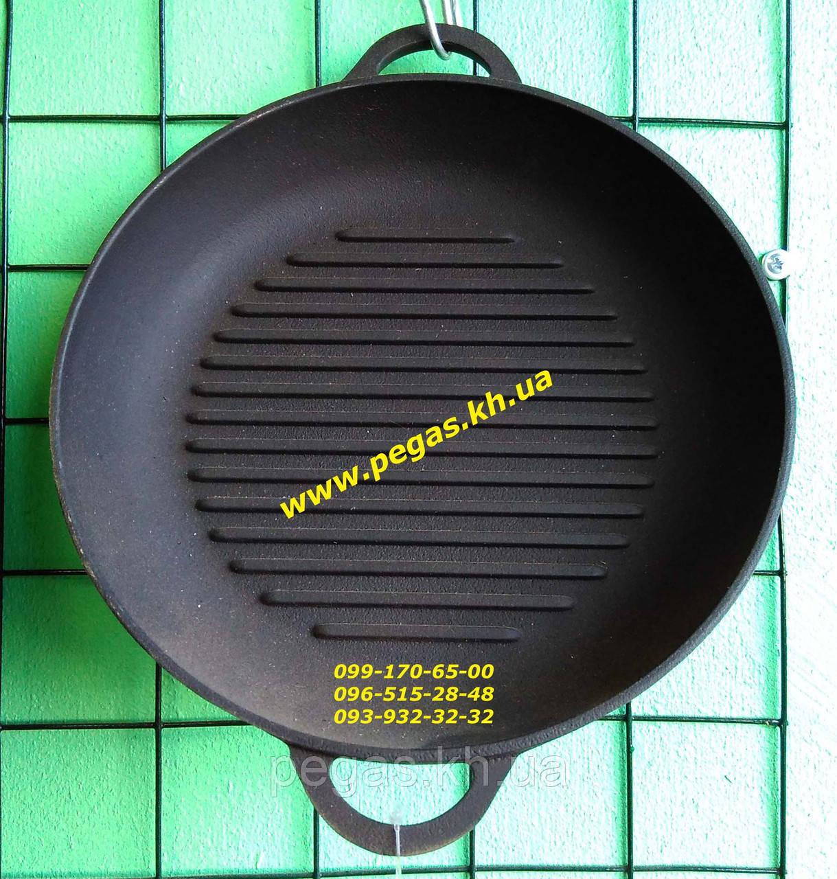 Сковорода гриль чугунная 200х35 печи, барбекю, мангал