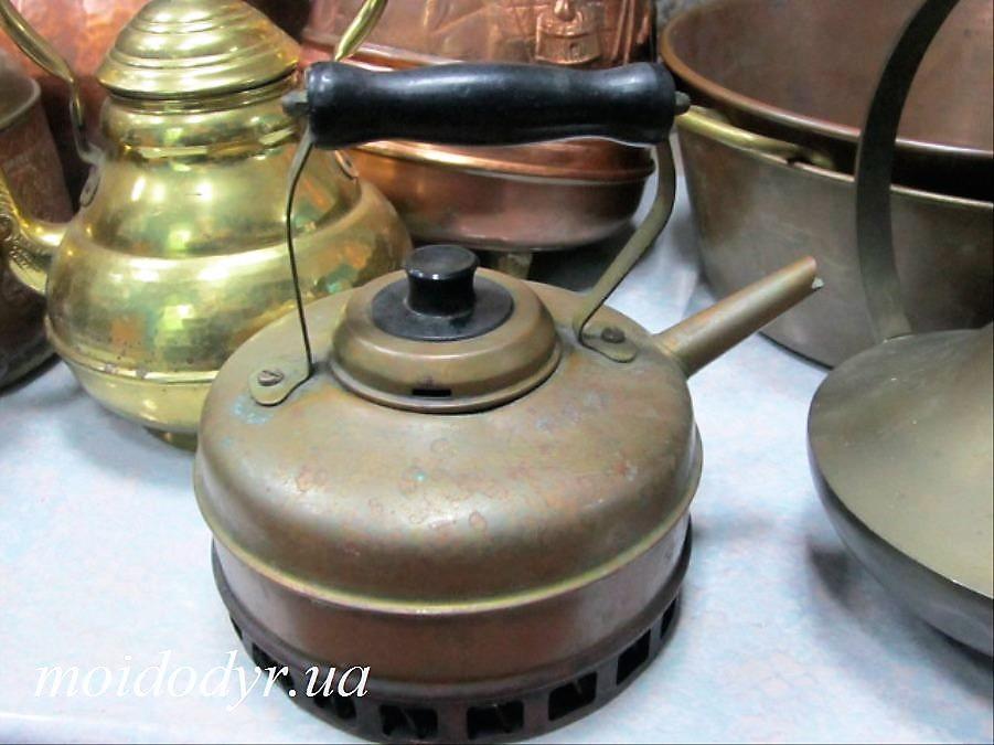 Антикварный чайник с ручкой, медный, декор