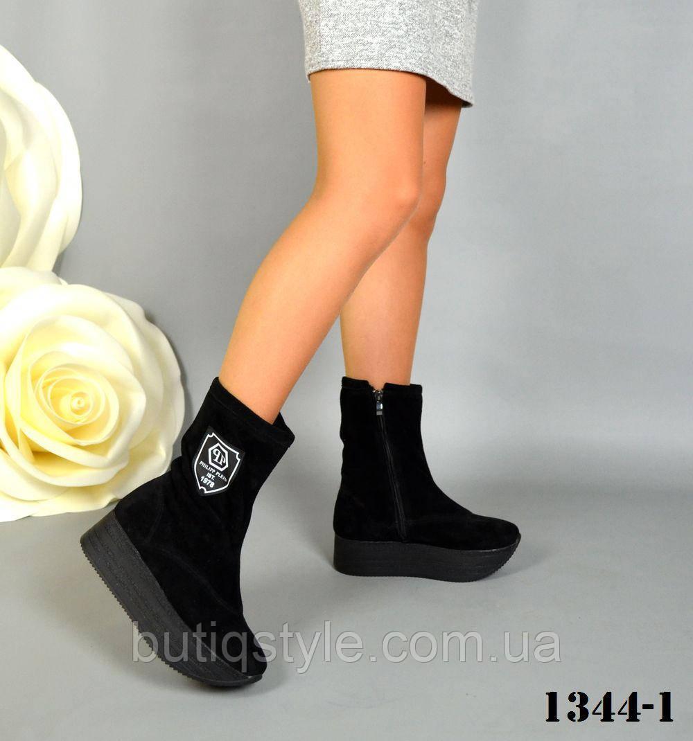 40 размер! Женские черные деми ботинки натуральная замша, флис