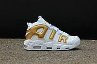 Мужские кроссовки Nike Air More Uptempo White/Gold, фото 1