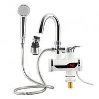 Кран-водонагреватель с душем проточный Delimano c LCD дисплеем 3000 Вт + аэратор поворотный Белый  (27000-nri)