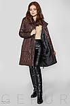 Коричневое стеганое пальто на запах с завязками, фото 2