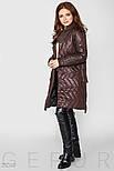 Коричневое стеганое пальто на запах с завязками, фото 3