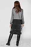 Серое комбинированное пальто из букле и велюра, фото 3