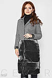 Серое комбинированное пальто из букле и велюра, фото 4