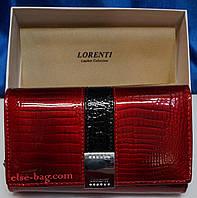 Кожаный лаковый кошелек с полосой LORENTI красный, фото 1