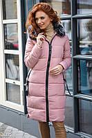 Розовое зимнее пальто из плащевки и капюшоном с мехом