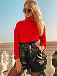 Женский костюм: кофточка из ангоры и шорты с высокой посадкой из эко-кожи (4 цвета), фото 4