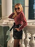 Женский костюм: кофточка из ангоры и шорты с высокой посадкой из эко-кожи (4 цвета), фото 6