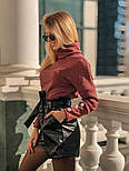 Женский костюм: кофточка из ангоры и шорты с высокой посадкой из эко-кожи (4 цвета), фото 8