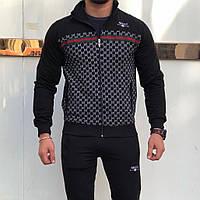 Gucci черный мужской костюм с вышивкой гучи двунитка 44-56 S-XXL CAVALIERI