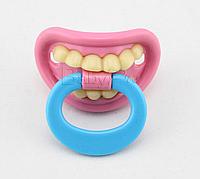 Силиконовая соска пустышка Розовые губки с зубками №1