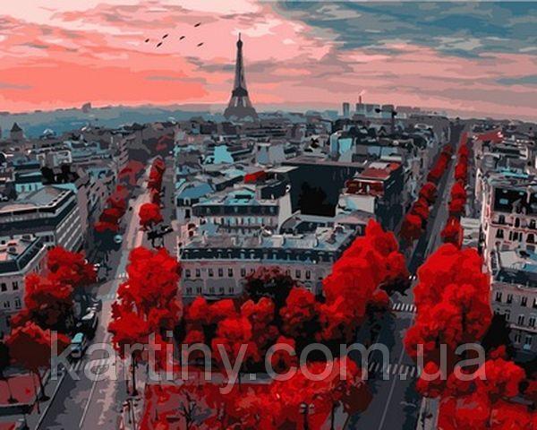 Раскраски для взрослых 50×65 см. Закат в Париже
