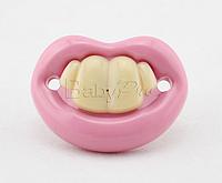 Силиконовая соска пустышка Розовые губки с зубками №3
