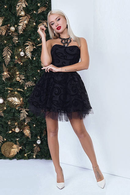 Корсетное вечернее платье 40574 (42–46р) в расцветках, фото 3