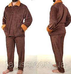 Пижама мужская махровая, цвета синий,коричневый, зеленый, медовый р-р Л (50-52), ХЛ (52-54), 2ХЛ (56-58)