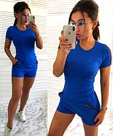 Спортивный женский летний костюм: футболка и шорты с лампасами цвет электрик