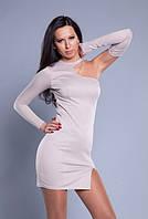 Короткое Кремовое платье с оригинальными вырезами и съемным рукавом MM30036