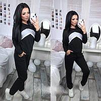 """Модный женский спортивный костюм-двойка """"Ultra"""": кофта и штаны с манжетами, черный"""