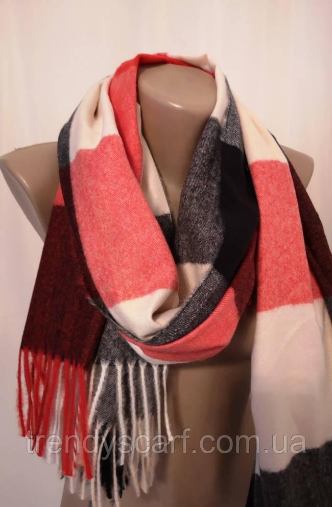 Женский Кашемировый шарф-палантин.Красный белый бордовый.Клетка Кашемир 180\75
