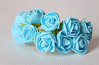 Букетик розочек 2,5 см диаметр мини 12 шт. голубого цвета на стебле, фото 1