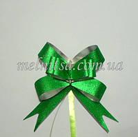 Бант  затягивающийся,  для упаковки подарков, 9 х 9 см, цвет зеленый