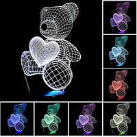 """Детский светильник 3D """"Мишка с сердцем"""""""
