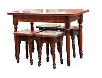 Стол раскладной + 4 табурета, дерево, (Мебель-Сервис)