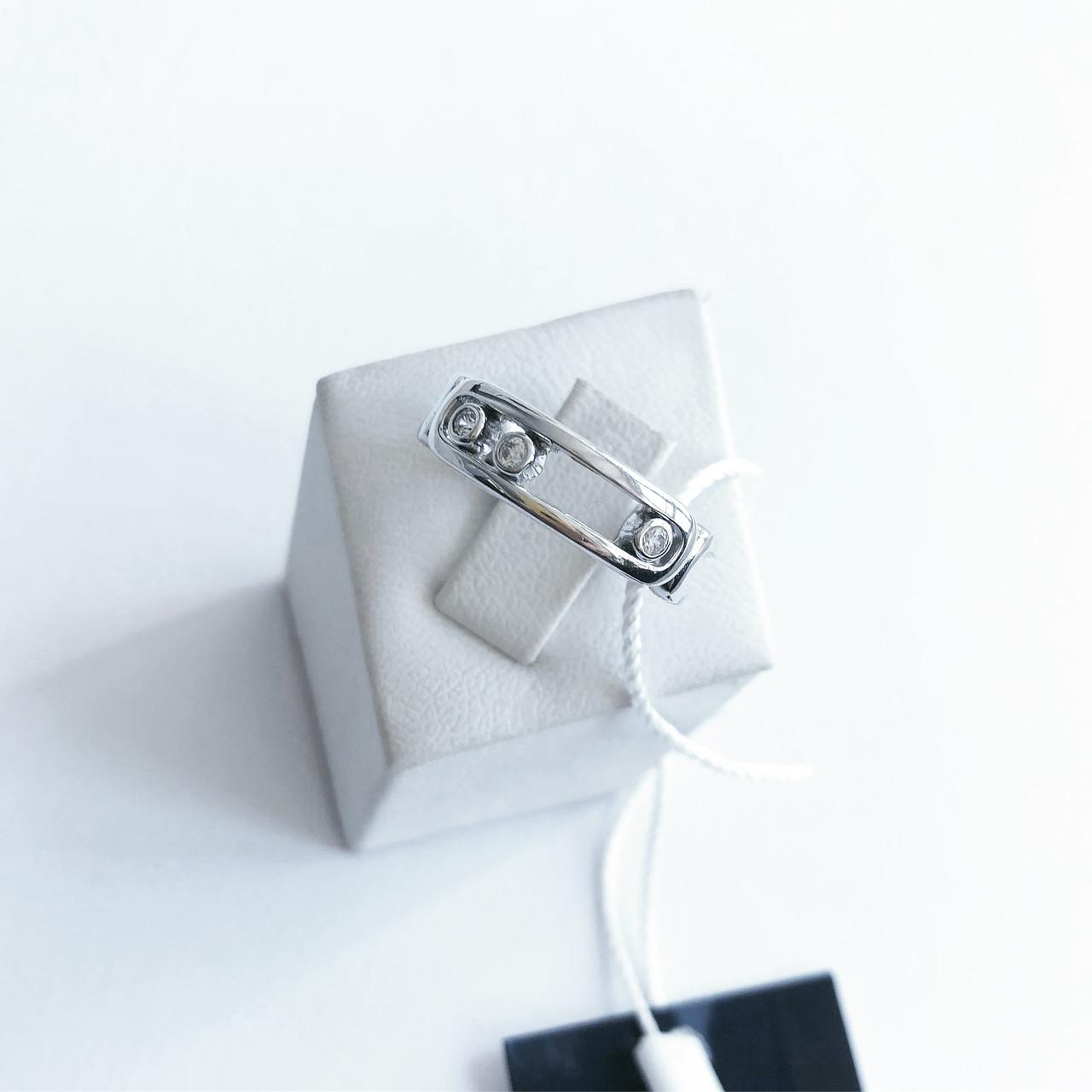 Кольцо из серебра Мої прикраси с подвижными камнями в стиле Messika (размер 17,5)
