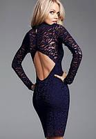 Гипюровое платье сапфирового цвета с открытой спиной L2566-5