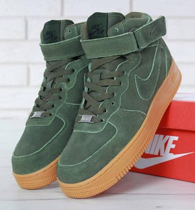 """Зимние мужские кроссовки в стиле Nike Air Force 1 High """"Green"""" c мехом, фото 2"""