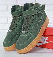 "Зимние мужские кроссовки в стиле Nike Air Force 1 High ""Green"" c мехом"