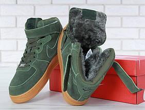 """Зимние мужские кроссовки в стиле Nike Air Force 1 High """"Green"""" c мехом, фото 3"""