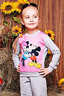 Повседневный детский свитшот с принтом Микки и Минни Маус светло-серый с розовым