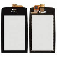 Сенсор тачскрин Nokia 308, 309, 310 черный (проклейка)