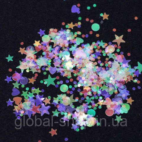 Цветной декор для дизайна ногтей(ЗВЁЗДЫ,луны,кружочки)