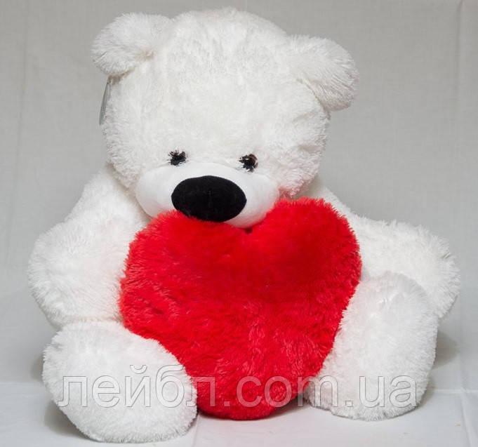Большой мягкий медведь 140 см с сердцем 50см