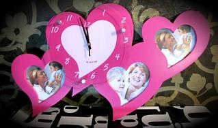 Настенные часы-фоторамка Сердца