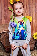Модный детский свитшот с принтом Рио светло-серый